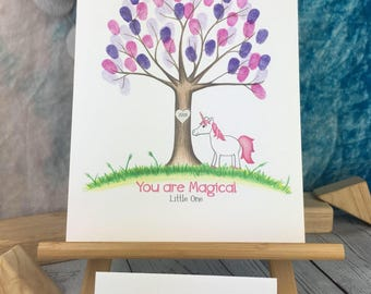 Unicorn Fingerprint tree | unicorn baby shower | Custom |  Thumbprint tree guest book | unicorn nursery | unicorn baby shower | birthday