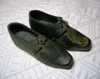 Antique Children's Shoes. Welsh Clogs. Handmade Hobnails, Wooden Soles, Buckles. Single Lasted
