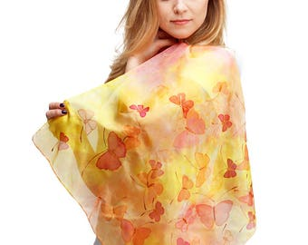 Silk scarf butterflies- small square scarf- womens neckerchief- Hand painted silk scarf- yellow salmon silk scarf- scarf for woman- bandanna