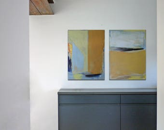 "Oil painting, canvas art, stretched, diptych ""Abstract line VIII"". Size 2x (27.5/ 19.7 inches), 2x (50/70cm)."