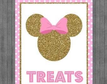 FLASH SALE Minnie Mouse Birthday Sign, Pink and Gold, Treats sign