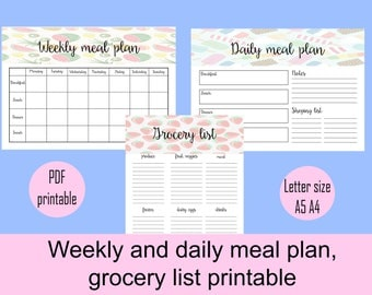 Meal planner and grocery list printable, menu planner printable, PDF printable, meal plan, printable meal schedule, INSTANT DOWNLOAD