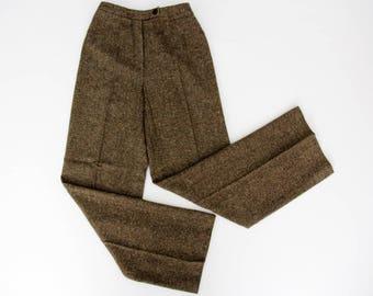 Vintage Pants // Herringbone Brown Wool Pants // Synonyme de Georges Rech Tweed Wool Trousers
