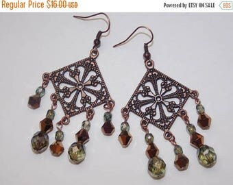 15%OFF Iridescent Green Czech Glass Copper Crystal Green Crystal Copper Chandelier Earrings