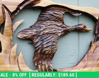 Ends Thursday New Chainsaw Carved flying duck 25 to 27 inches long cedar wood stump burned art hand carved wooden sculpture hand carving