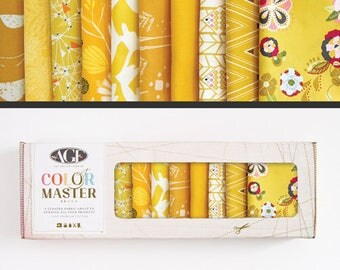 Art Gallery Fabrics, Color Master Collectors Box, Golf Leaf, FREE SHIPPING, gold fabric, yellow fabric  modern blender, quilting bundle