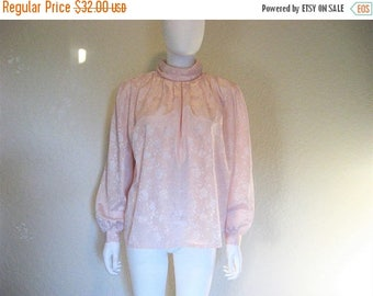 25% off SALE 80s Pale Pink Rose Demask Patterned Blouse