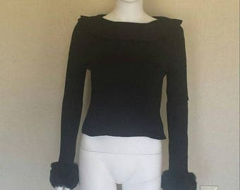 25% off SALE Faux fur trim knit sweater top w collar