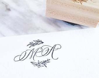 Custom Monogram Stamp | Wedding Stamp | Personalized Stationery | Save the Date | Wreath | Custom Initials Calligraphy | Wedding Favor Stamp