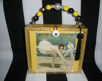 Yellow, Vintage, Tennis Cigar Box Purse, Cigar Box Handbag, Authentic, Tampa- So Cute!!!