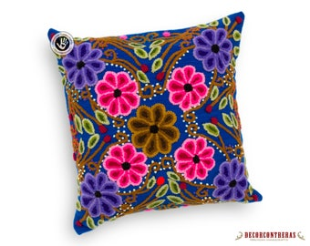 Peruvian Pillow cover 16x16 - Blue decorative Cushion cover - Hand-embroidered pillow cover wool floral multicolored flowers - throw pillow