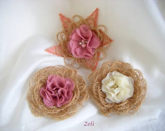Flowers in natural burlap and MUSLIN set of 3 (10 cm)