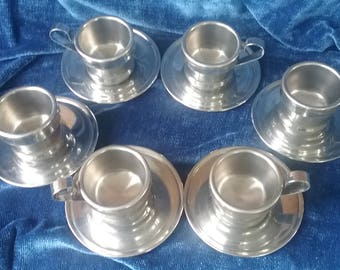 6 Italian Rivadossi Stainless Steel Cups and Saucers/La Termica Jolly Expresso or Coffee Cups and Saucers