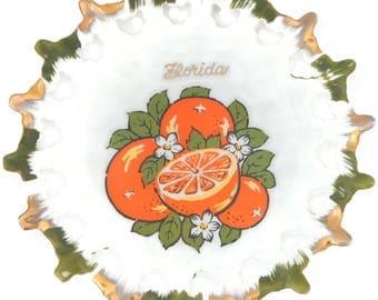 Florida Souvenir Plate Oranges Made in Japan Pierced Edge Gold Gilt