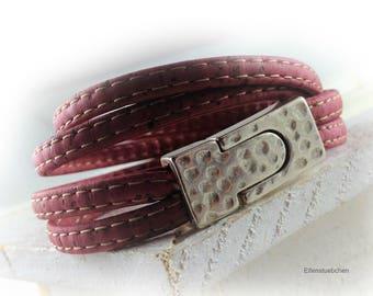 Damen Kork Leder Armband Wickelarmband rot silber vegan  - Geschenk für Sie beste Freundin Mutter Ehefrau Sommer Holz Korkschmuck Veganer