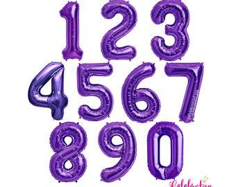 Jumbo Purple 34 Inch Foil Mylar Number Balloons