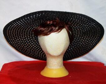 """Vintage Black Straw Sun Hat,  23"""""""
