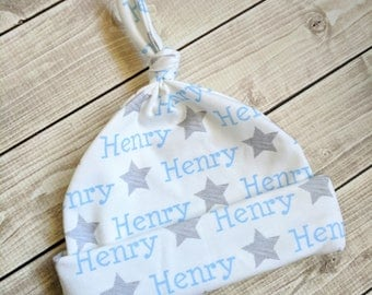 Personalized star baby knot name hat: baby and toddler personalized name hat organic cotton knit baby shower gift