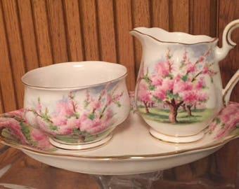 Vintage bone china Royal Albert Blossom time creamer sugar with tray set