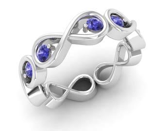 Tanzanite Ring, 14K White Gold, Gold Eternity Ring, Forever Ring, Infinity Ring, Promise Ring, Tanzanite Engagement Ring, Gold Wedding Ring