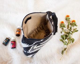 Essential Oil Case in Pendleton Wool, Boho Bag for Essential Oils, Oil Travel Case, Mercy Grey Design Essential Oil Bag, Oils Carrier