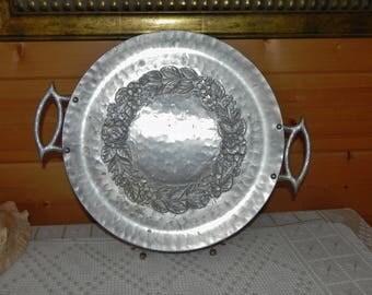 "Hand Forged Everlast Aluminum Round Rose Pattern Handled Tray 14-3/4"""
