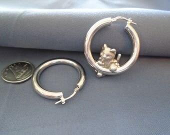 Charles Garnier Kitty Cat Sterling Silver Hoop Earrings
