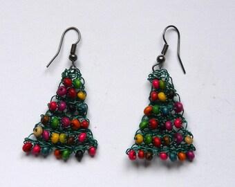 Multicolored wood earrings