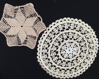 Lace doilies, crocheted doilies, lace pieces, white lace doilies, hand-made crochet doilies