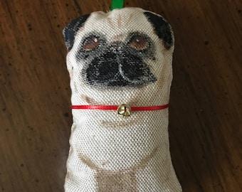 All handmade Painted Pug Christmas ornament