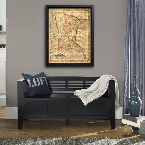 Map of Minnesota 1860 Map of MN Vintage Maps Restoration Hardware Style Minnesota map Wall Map decor new home housewarming gift map art
