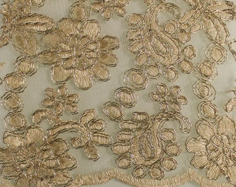 Gold Amanda Embroidery Flowers with Scallopped Edge Sequins on a Mesh Lace Fabric by the Yard- Style- 2877