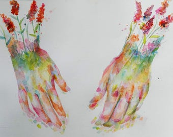 Flower Watercolor Hands Study 15  by 11.7 inches Acid Free