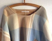 Woollen Windcheater Top Womens Jumper in check camel and blue Wool Long Style Dipped Hem oversize M