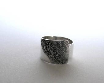 Handmade silver ring with texture