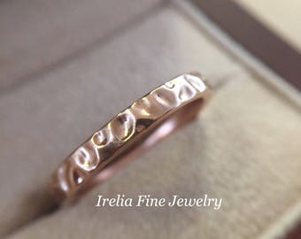Sterling Silver Stackable 14k Rose Plated Textured Ring Polished  Size 7  -----Ready To Ship From USA