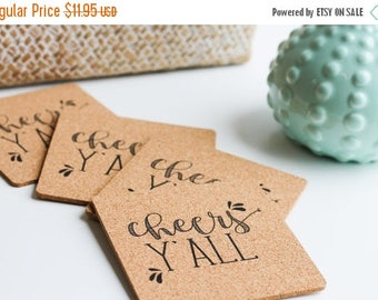 ON SALE Cute Coasters - Cheers Y'all - Coaster Set of 4 - Reuseable Coasters - Holiday Party Must Have