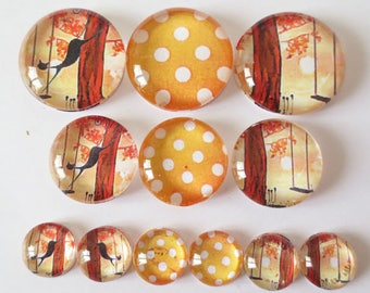 Set of 12 cat to the swing (craftsmanship) theme cabochons 12mm / 20mm / 25mm