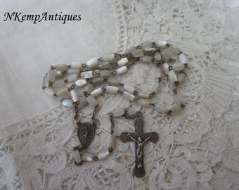 French shell rosary 1920's Mother of pearl