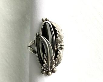 Southwest Onyx Ring | Vintage Ring | George Nakai Navajo Black Onyx Ring |