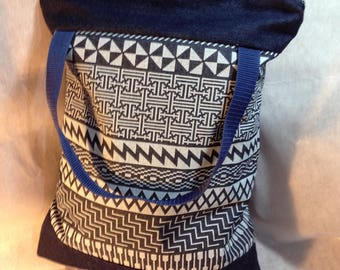 Convertible Geometric Denim Backpack Shoulder Bag Tote One For All 'Musketeer'