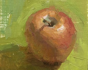 Daily Habits Original Oil Painting by Bhavani Krishnan Red apple Fruit still life Small daily painting Kitchen art 6x6 Home Wall Decor