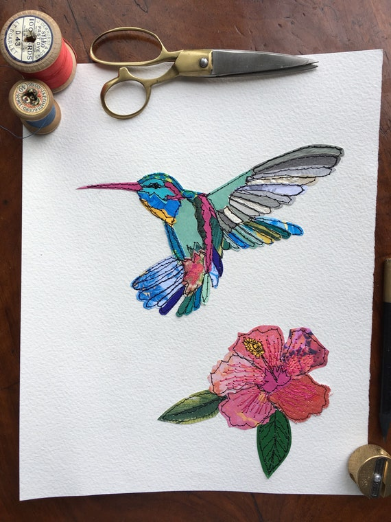 Hummingbird- hibiscus- original art-stitched- mixed media