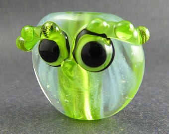 Wispy Sparkly Grass Green Dichroic Feathered Owl Focal - Hand Made Lampwork Glass Bead - Handmade Glass Owl Bead - Owl Pendant Bead SRA OOAK