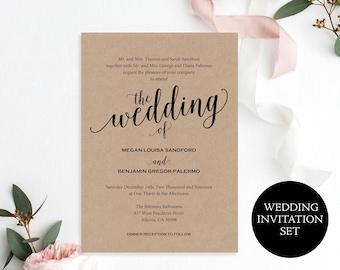 Wedding Invitation, Wedding Invitation Template, Wedding Invite Printable, Rustic Wedding, Invitation, Script, Instant Download, MM01-2