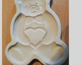1991 Pampered Chef Teddy Bear Cookie Mold Stoneware