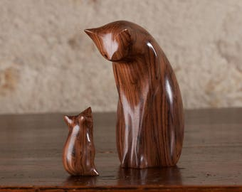 Wooden Cat Statue, Wooden Cat Figurine, Cat and Mouse Carved From Santos Rosewood by Perry Lancaster, Original Design