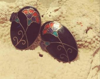 Cloissonne Carnation Earrings