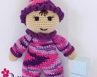 Baby Girl Doll / Crochet Baby Girl Doll / My First Doll / Stuffed Purple-Multi Baby Girl Doll / Plush Purple Baby Girl Doll / Crochet Stuffy