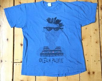 Vintage 80s OP Ocean Pacific Thrashed Doodle Sketch Surf T Shirt - Large/Medium